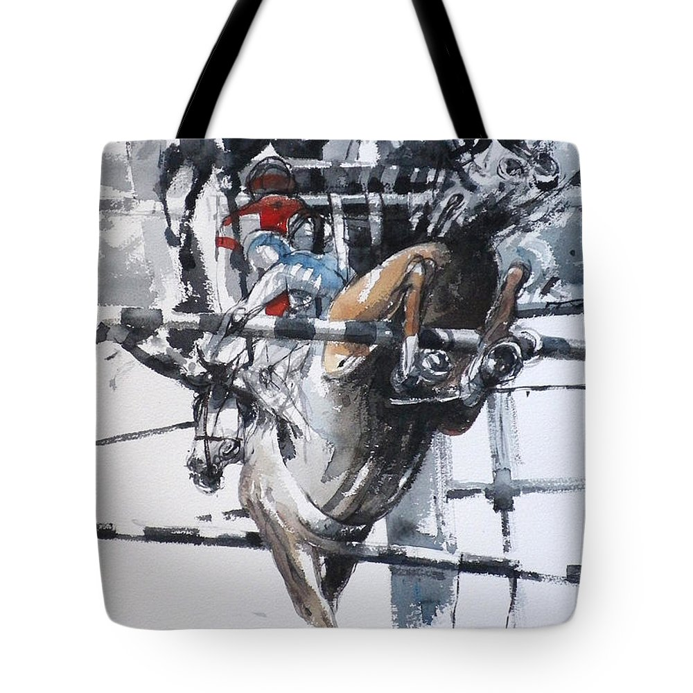 Horses Tote Bag featuring the painting At The Races 5 by Tony Belobrajdic