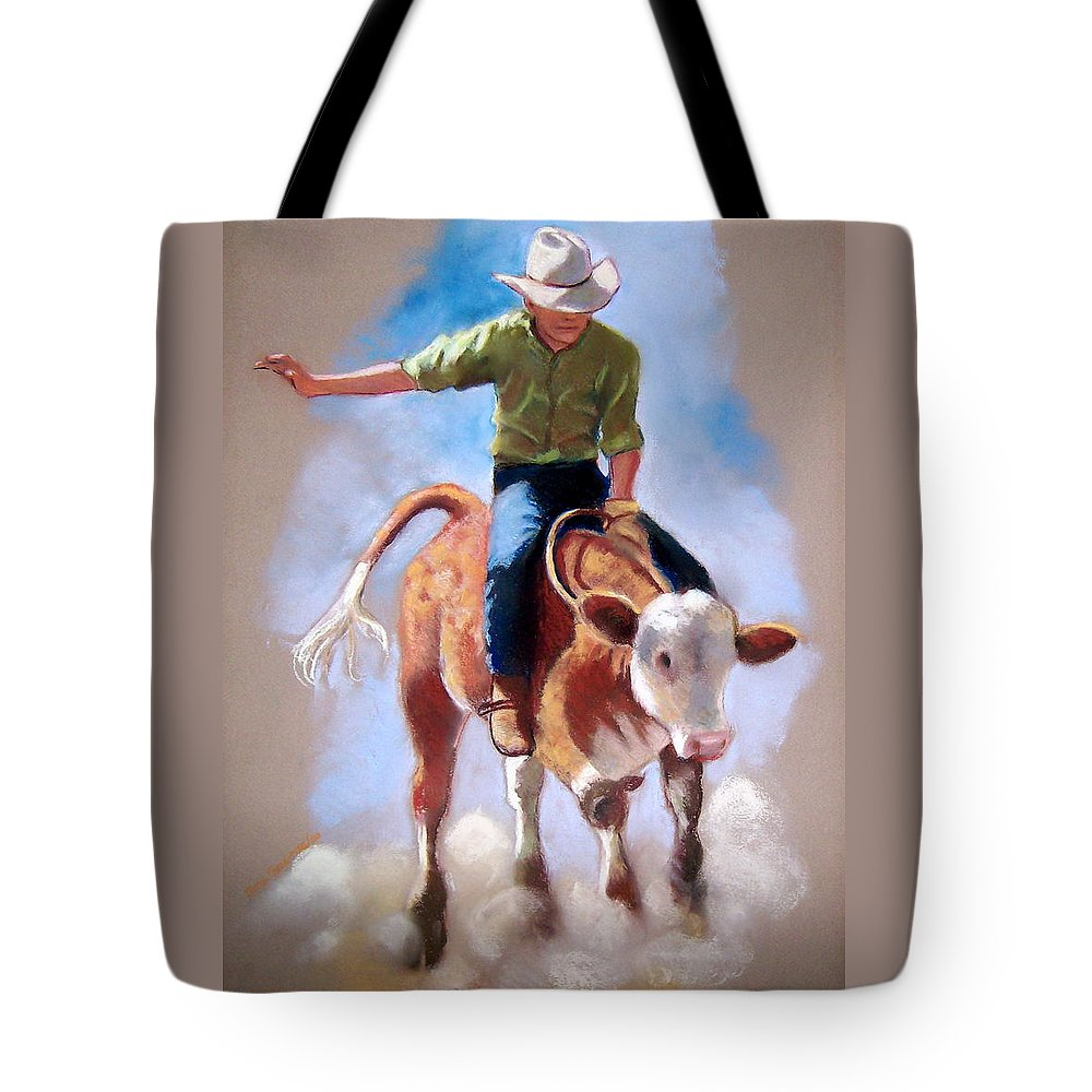Rodeo Tote Bag featuring the pastel At The Rodeo by Joyce Geleynse