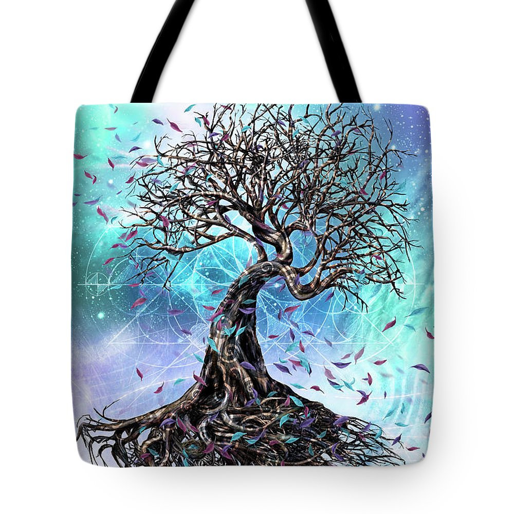 Tree Tote Bag featuring the mixed media At the Root of All Things by Chris Cole