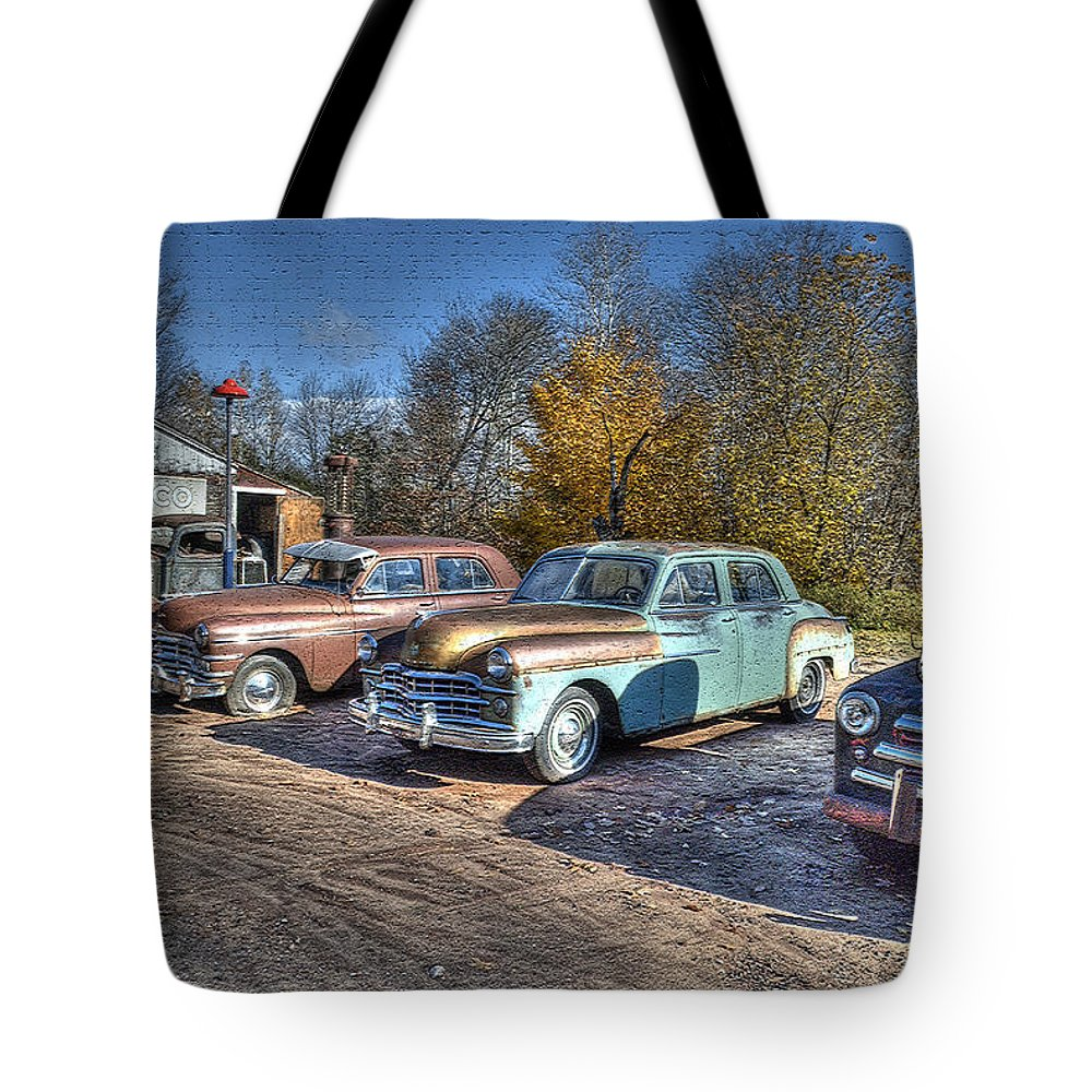 Post-processing Tote Bag featuring the photograph At The Service Station by Janice Adomeit
