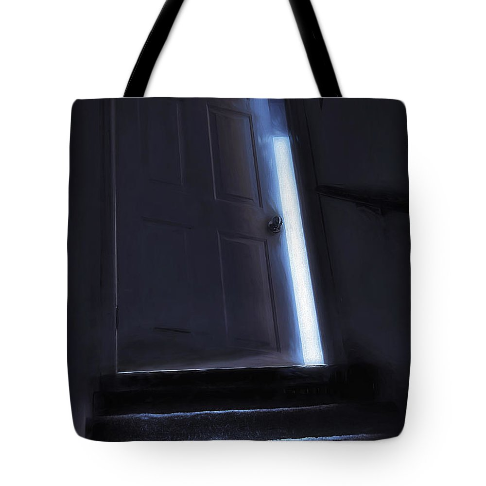 Stair Tote Bag featuring the photograph At The Top Of The Stairs by Steve Ohlsen