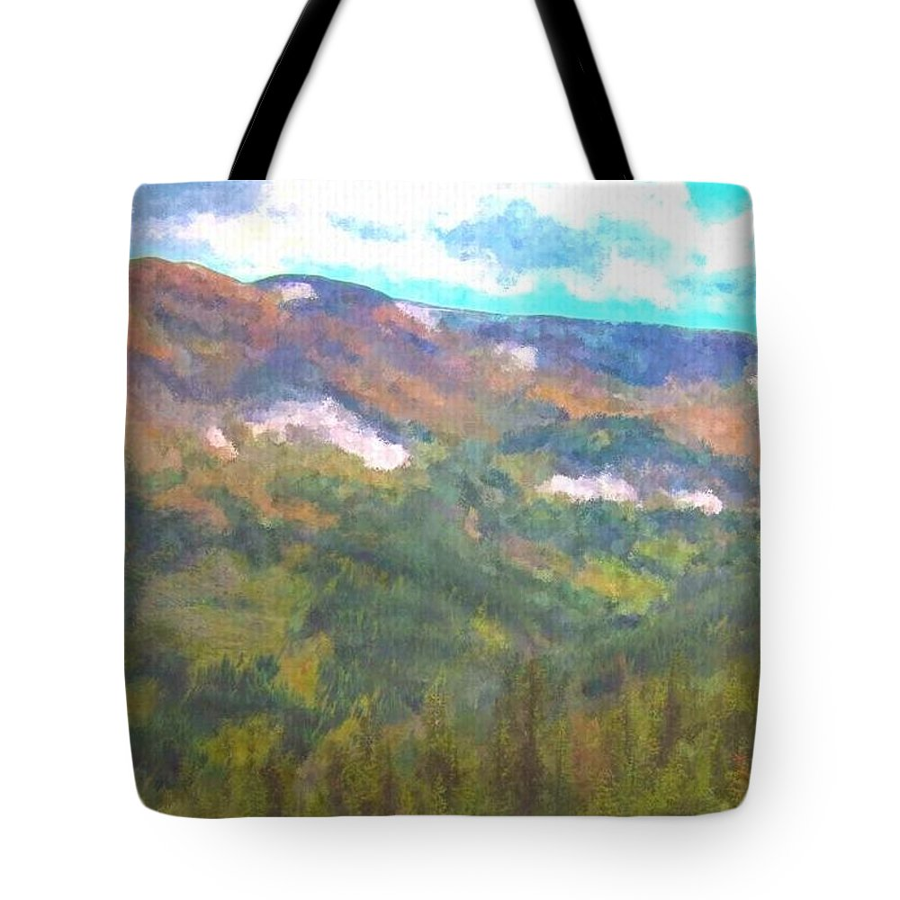 Colorado Landscape Art Tote Bag featuring the painting At The Top by Trula Walker
