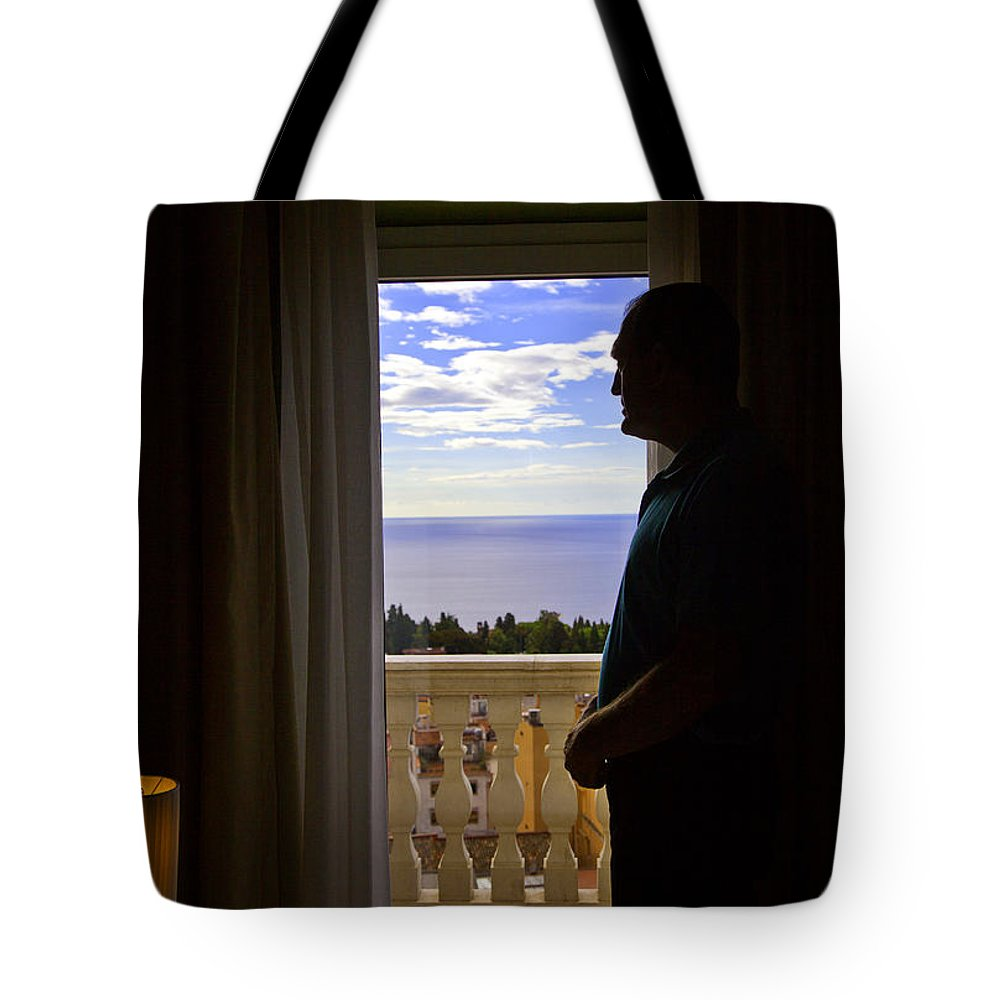 Window Tote Bag featuring the photograph At The Window In Taormina by Madeline Ellis