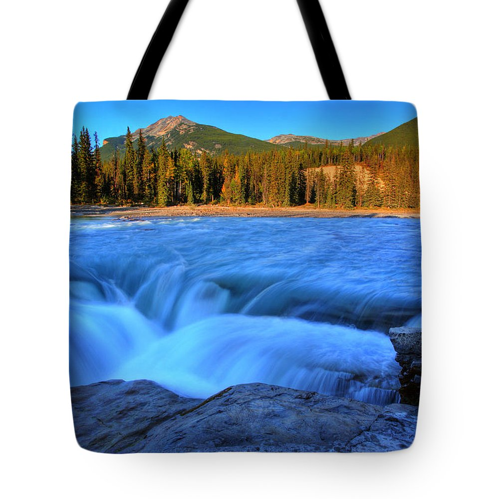 Athabasca River Tote Bag featuring the digital art Athabasca Falls In Jasper National Park by Mark Duffy
