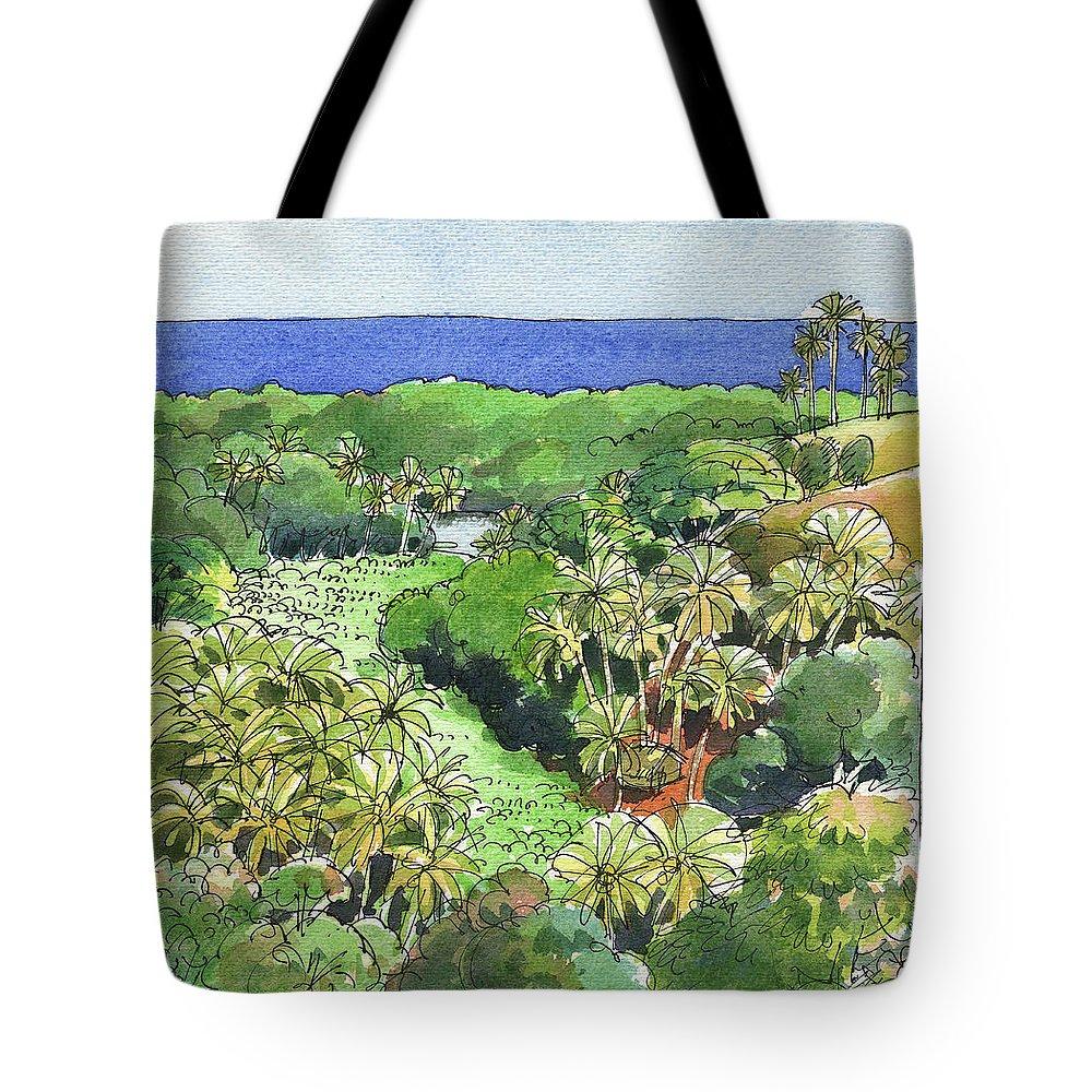 Atiu Tote Bag featuring the painting Atiu Lake View by Judith Kunzle