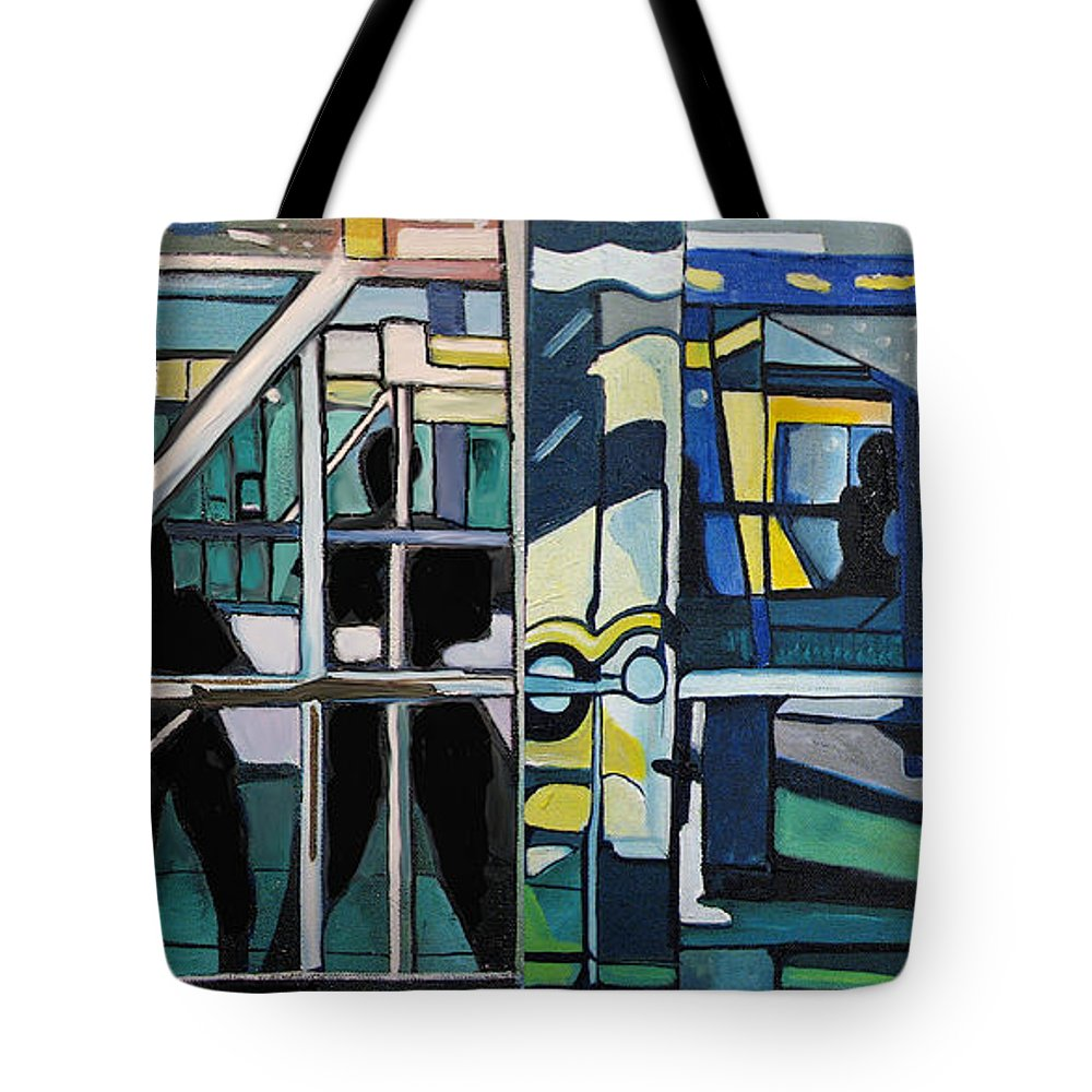 Abstract Tote Bag featuring the painting Atlanic City Abstract No.1 by Patricia Arroyo