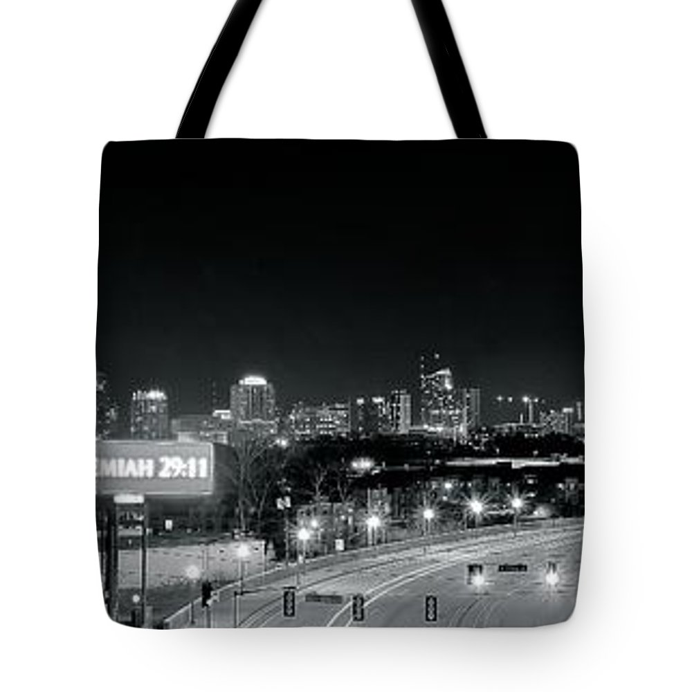 Atlanta Tote Bag featuring the photograph Atlanta Black And White Panorama by Frozen in Time Fine Art Photography