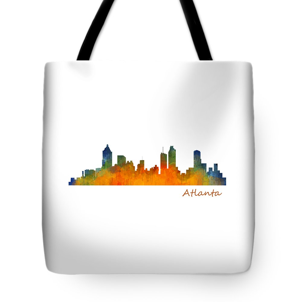 Atlanta Tote Bag featuring the painting Atlanta City Skyline Hq V1 by HQ Photo