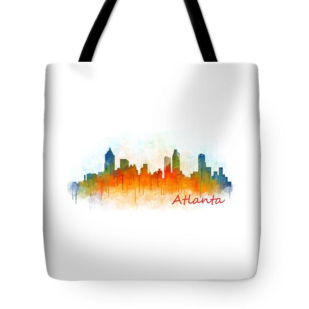 Atlanta Tote Bag featuring the painting Atlanta City Skyline Hq V3 by HQ Photo