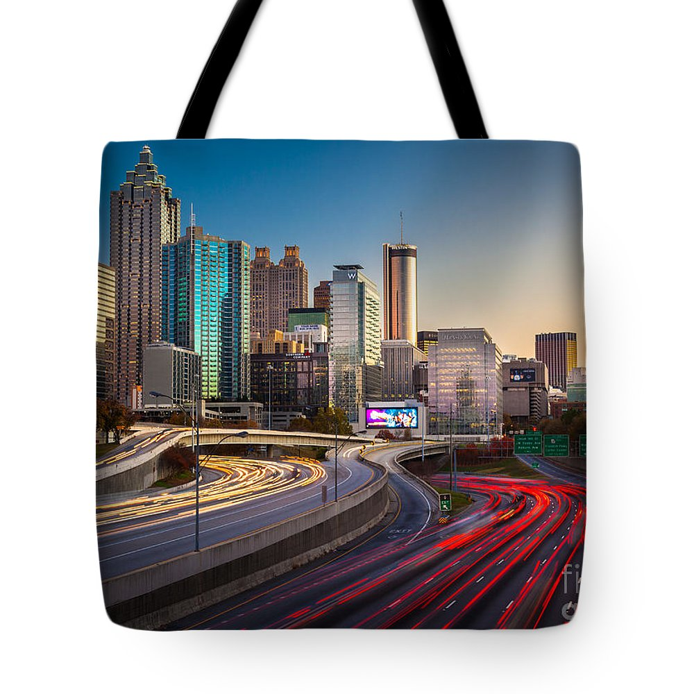 America Tote Bag featuring the photograph Atlanta Downtown Lights by Inge Johnsson