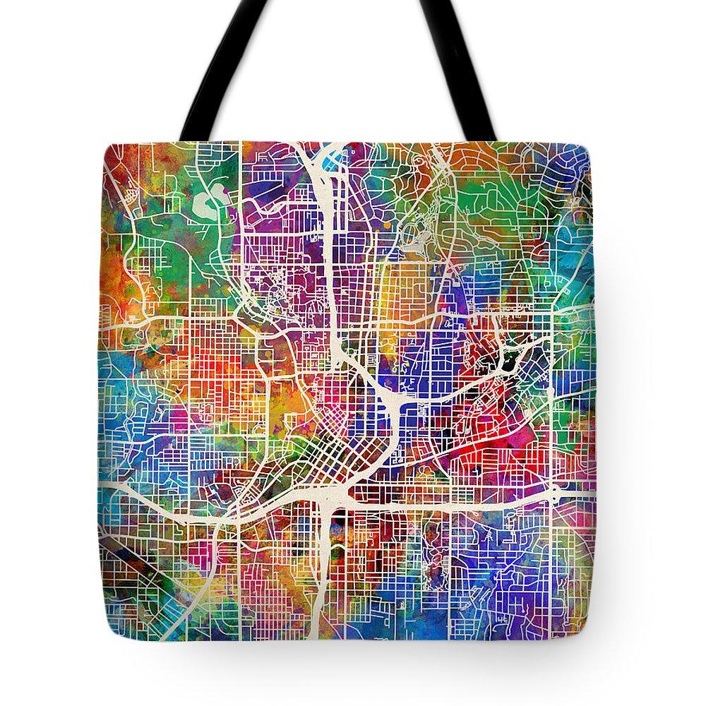 Street Map Tote Bag featuring the digital art Atlanta Georgia City Map by Michael Tompsett