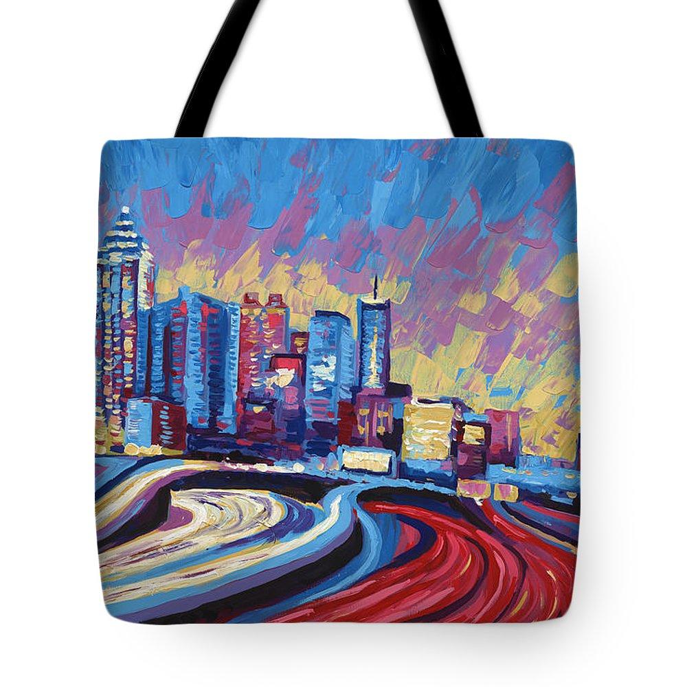 Atlanta Skyline Tote Bag featuring the painting Atlanta Georgia Skyline 17 by Paul Kyegombe