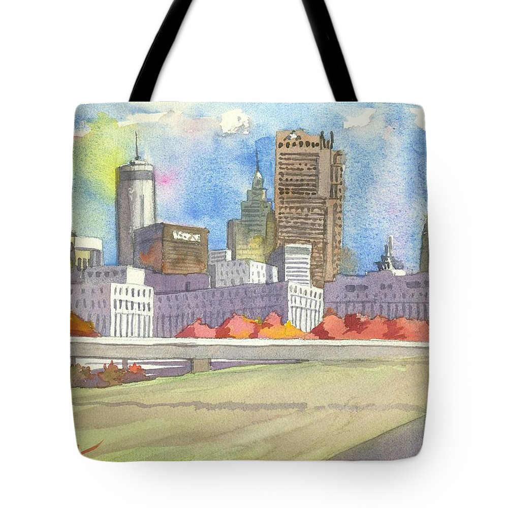 Atlanta Tote Bag featuring the painting Atlanta Skyline Color by Scott Serafy