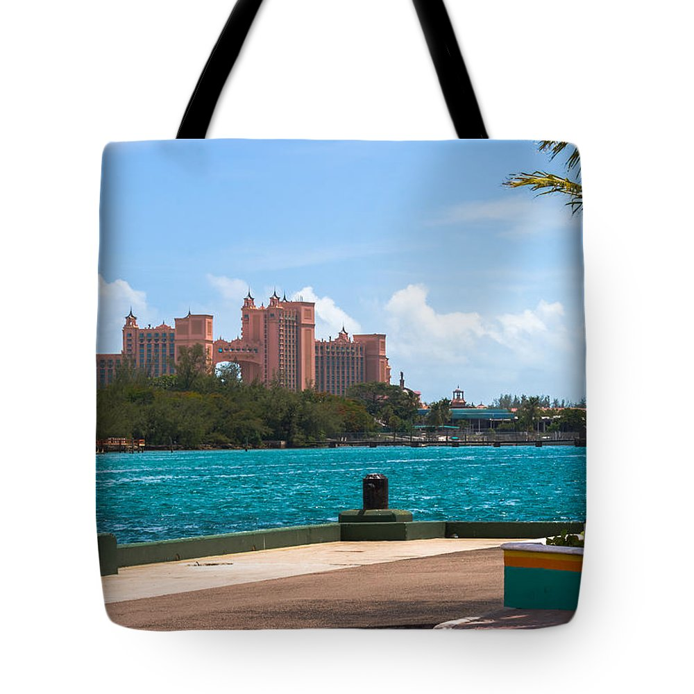 Aquamarine Tote Bag featuring the photograph Atlantis Across The Harbor by Ed Gleichman