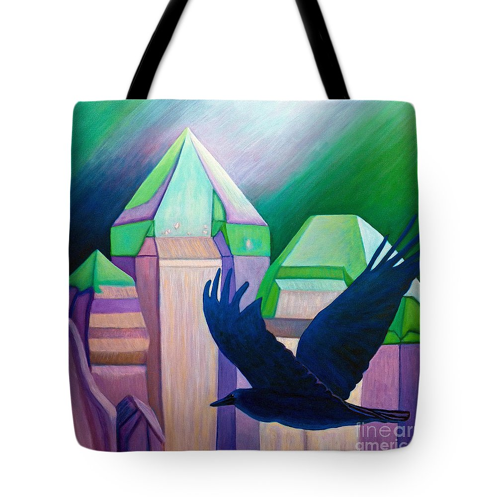 Crystals Tote Bag featuring the painting Atlantis by Brian Commerford
