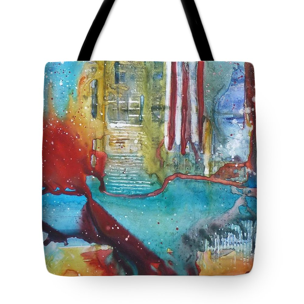 Abstract Tote Bag featuring the painting Atlantis Crashing Into The Sea by Ruth Kamenev
