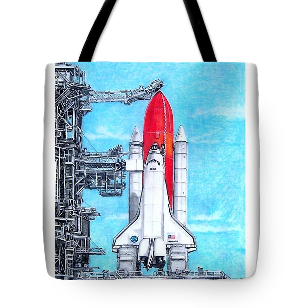 Drawing Tote Bag featuring the drawing Atlantis by Murphy Elliott