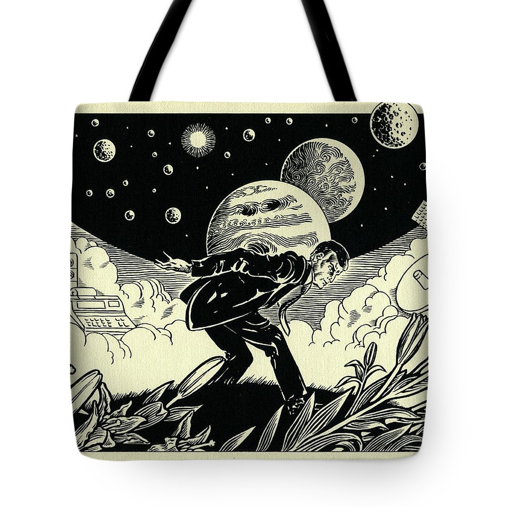 Atlas Tote Bag featuring the drawing Atlas by Lance Miyamoto