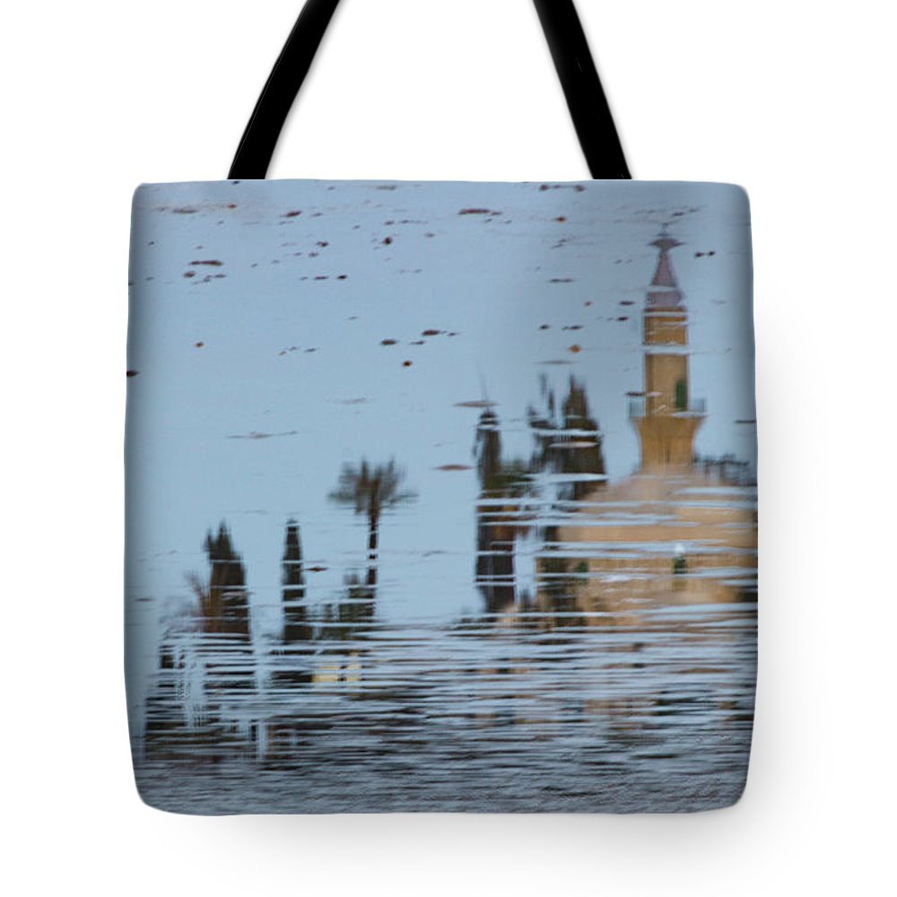 Cyprus Tote Bag featuring the photograph Atmospheric Hala Sultan Tekke Reflection At Larnaca Salt Lake by Iordanis Pallikaras