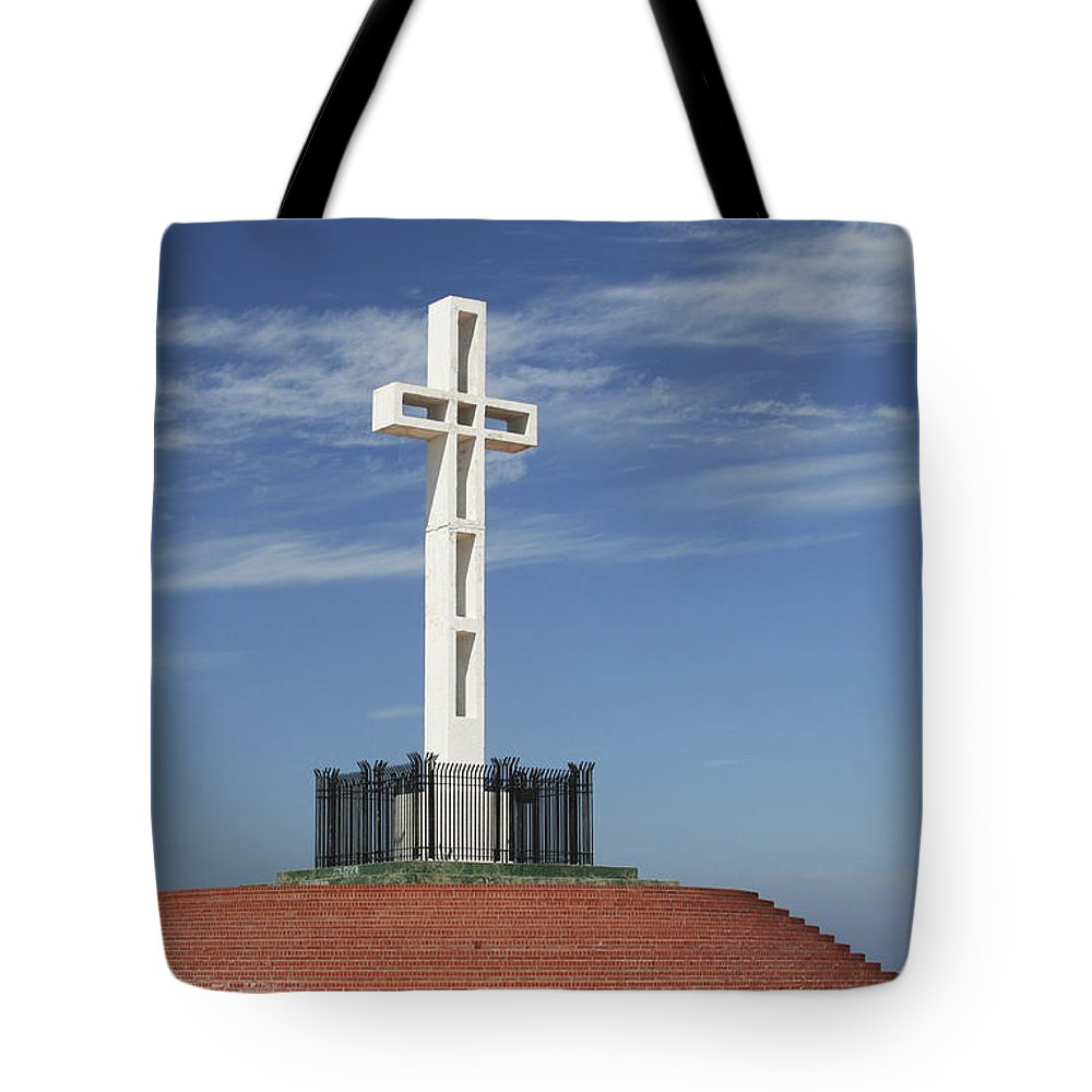 Mt Soledad Tote Bag featuring the photograph Atop Mt Soledad by Margie Wildblood