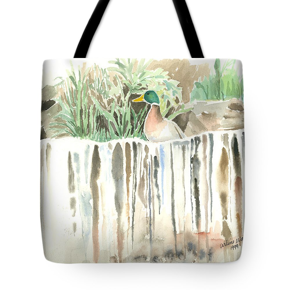 Waterfall Tote Bag featuring the painting Atop The Waterfall by Arline Wagner