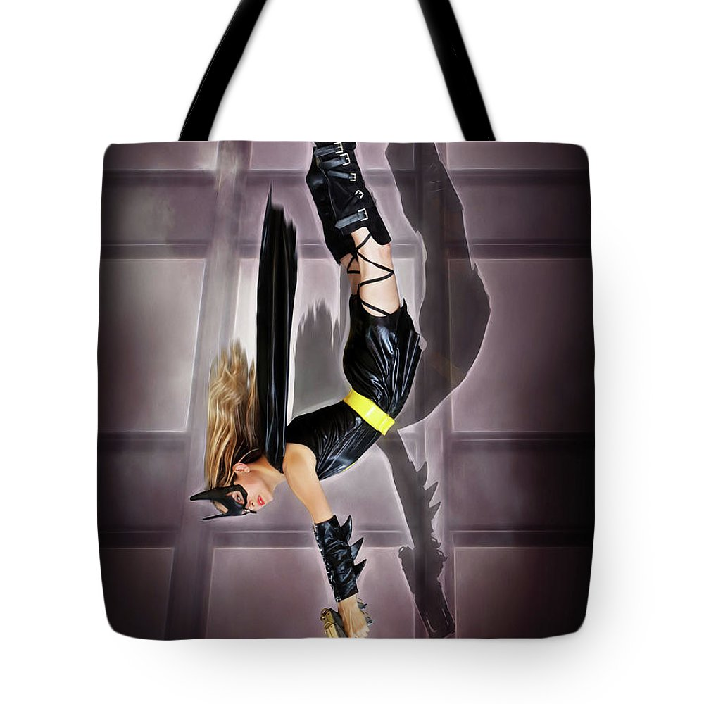 Bat Woman Tote Bag featuring the photograph Attack Of The Bat Gal by Jon Volden
