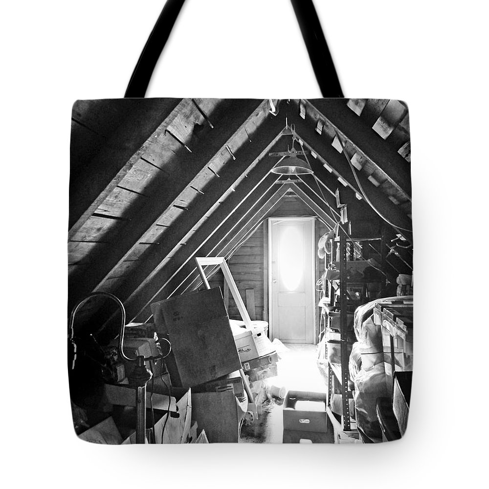 Attic Tote Bag featuring the photograph Attic Space Bw by Francesa Miller