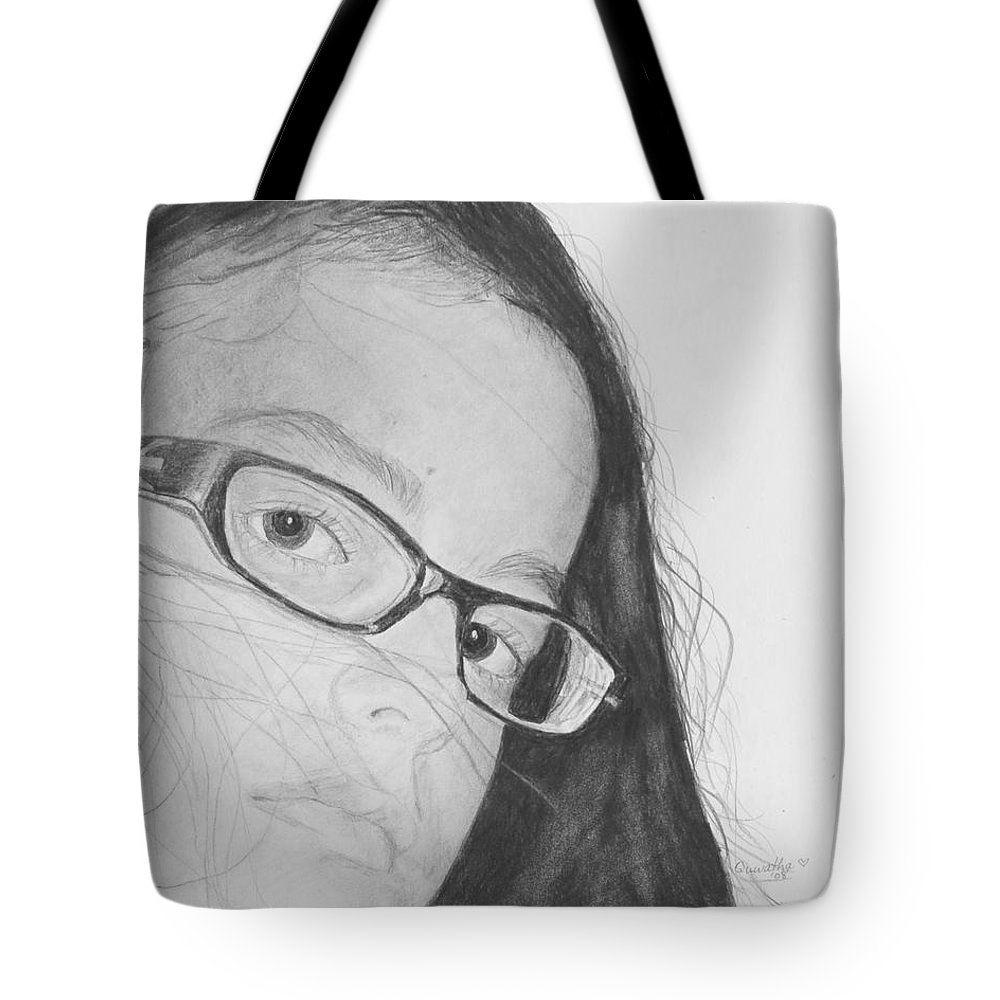 Portrait Tote Bag featuring the drawing Attitude by Quwatha Valentine