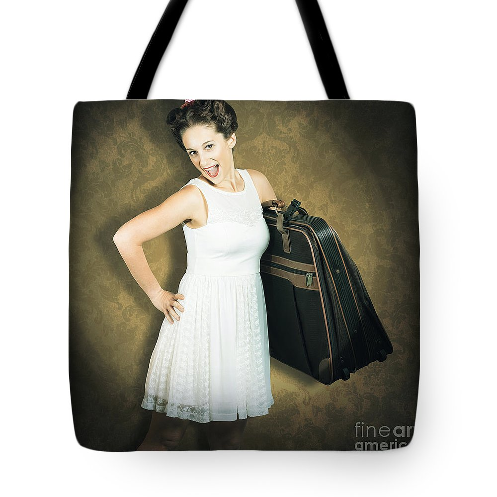 50s Tote Bag featuring the photograph Attractive Young 1950s Woman Ready For Travel Tour by Jorgo Photography - Wall Art Gallery
