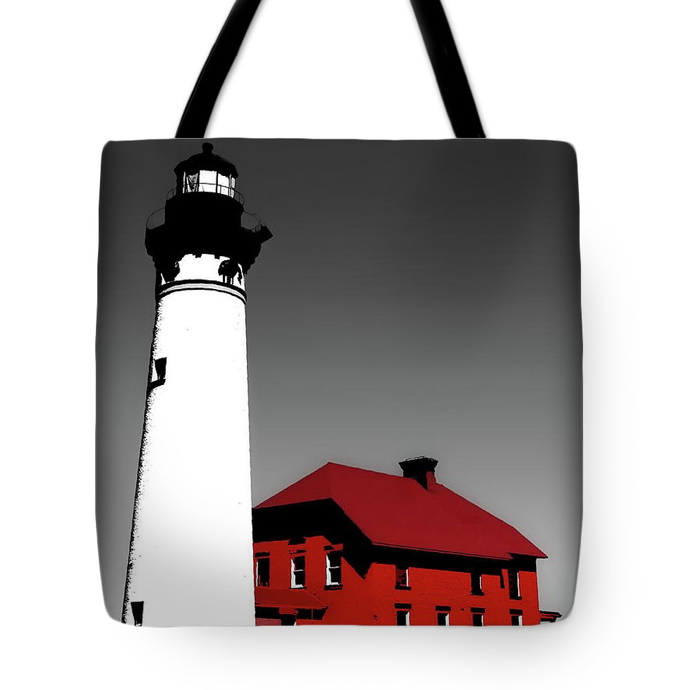 Digital Selective Color Photo Tote Bag featuring the photograph Au Sable Point Light Sc by Tim Richards
