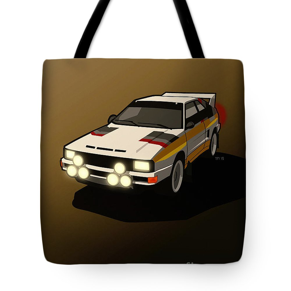 Car Tote Bag featuring the digital art Audi Sport Quattro Ur-quattro Rally Poster by Monkey Crisis On Mars