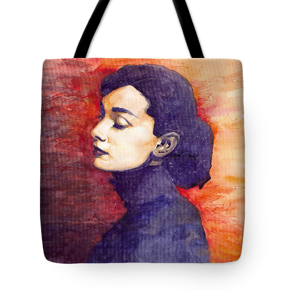 Watercolour Tote Bag featuring the painting Audrey Hepburn 1 by Yuriy Shevchuk