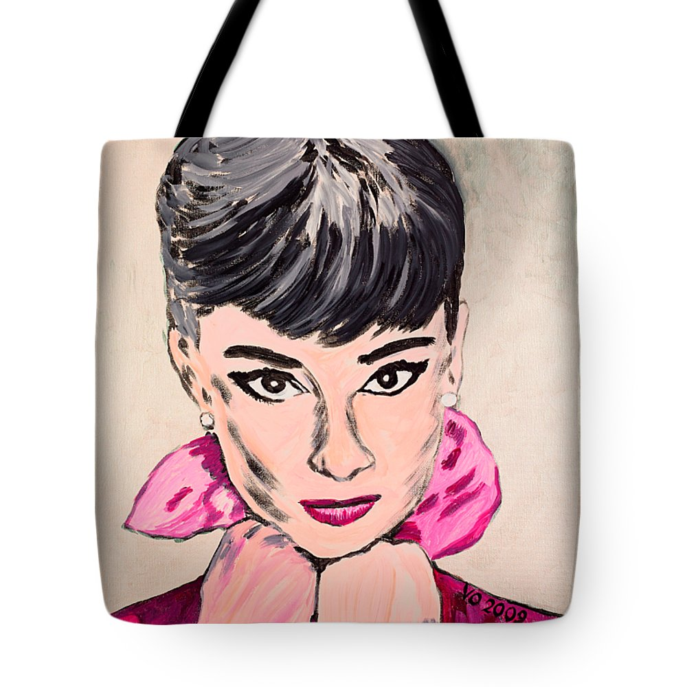 Portrait Tote Bag featuring the painting Audrey Hepburn by Valerie Ornstein