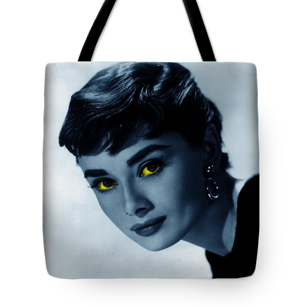 Audrey Hepburn Tote Bag featuring the photograph Audrey in blue by Emme Pons