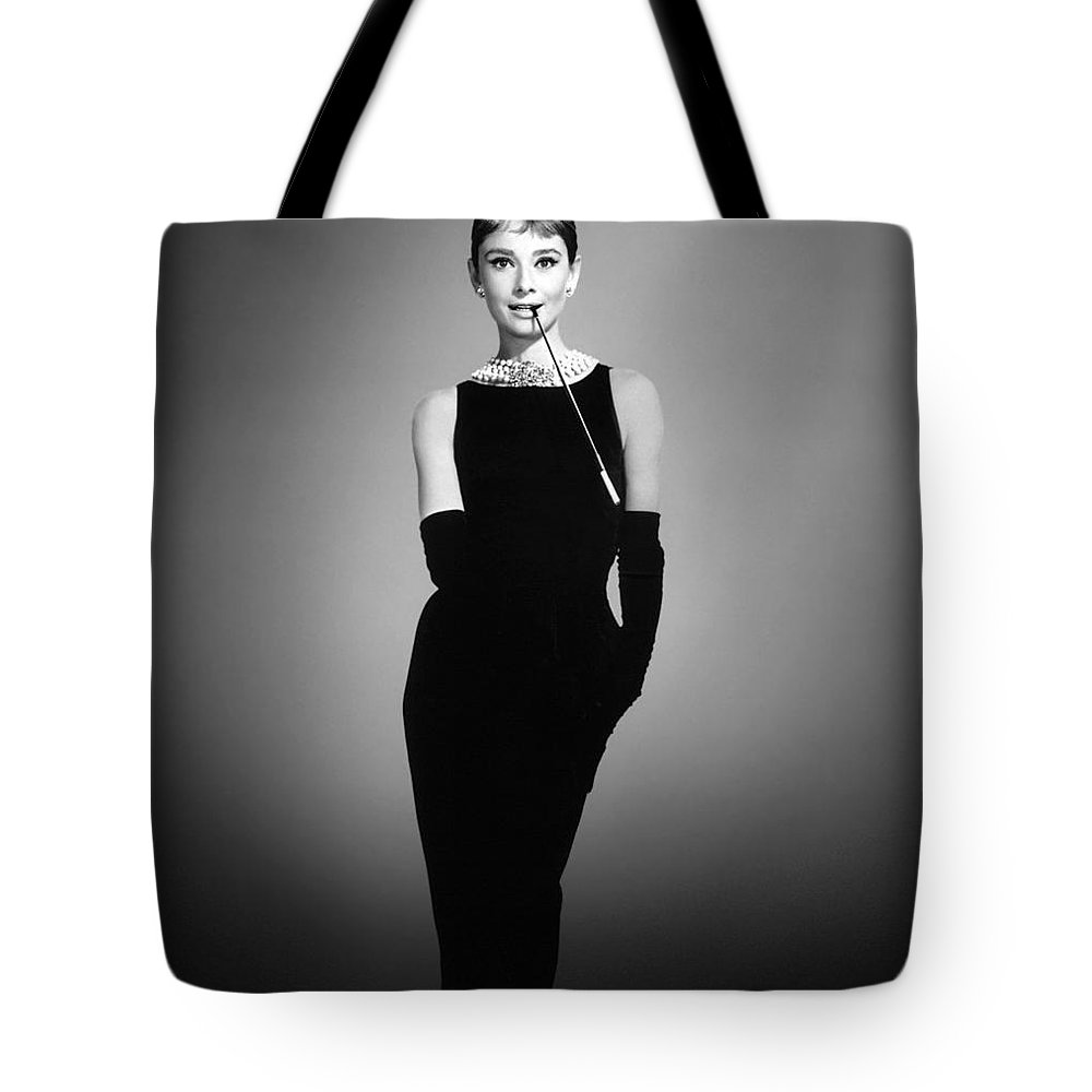 Hollywood Stars Celebrity Tote Bag featuring the photograph Audtrey Hepburn Breakfast Tiffany's by Peter Nowell