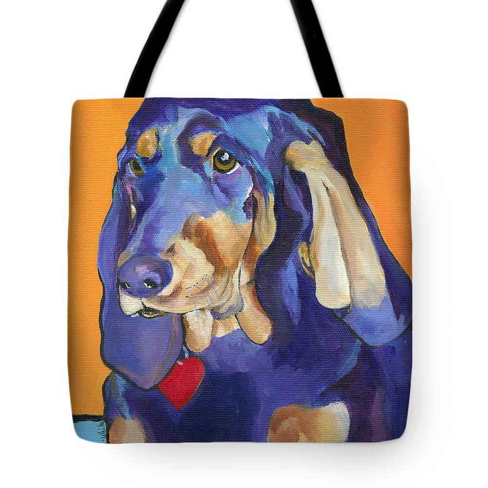 Bloodhound Tote Bag featuring the painting Augie by Pat Saunders-White