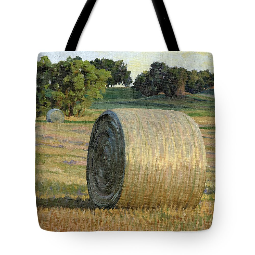 Landscape Tote Bag featuring the painting August Bales by Bruce Morrison