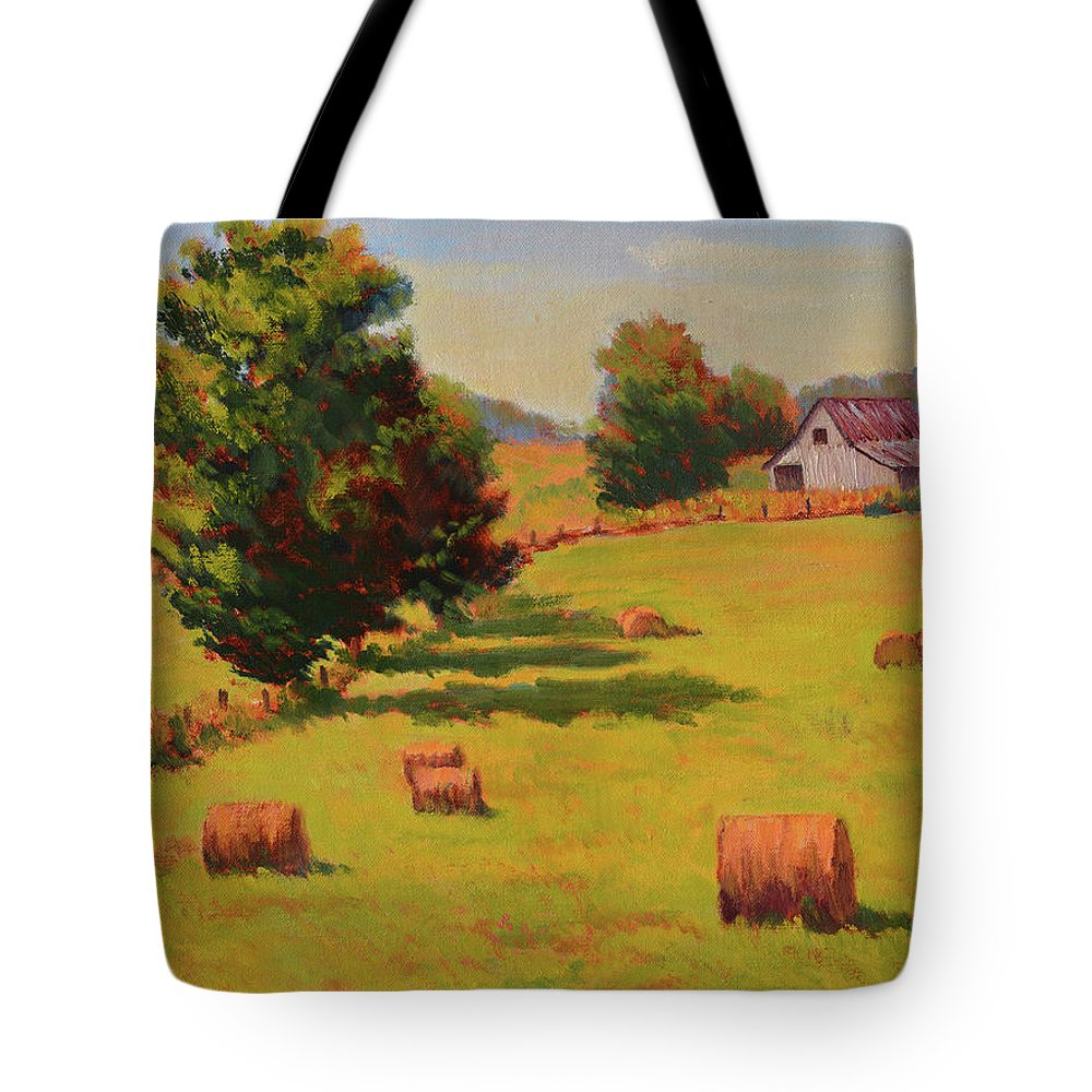 Impressionism Tote Bag featuring the painting August Hay Field by Keith Burgess