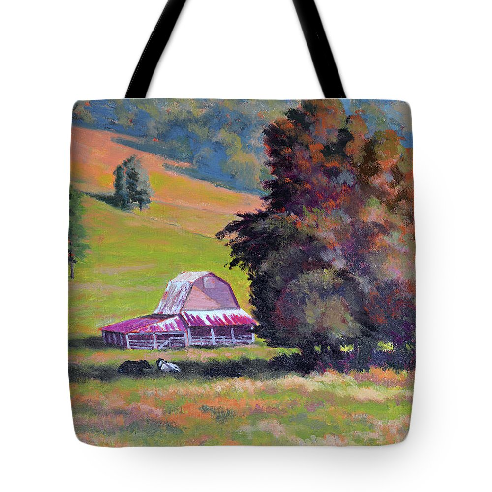Impressionism Tote Bag featuring the painting August Pastures by Keith Burgess