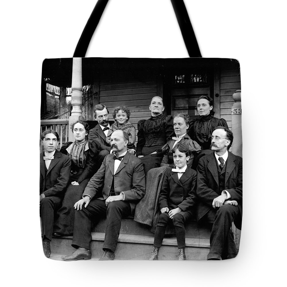 Aunt Deb Tote Bag featuring the photograph Aunt Deb, Emma, Uncle Lorin, Cousin Walter, Charles And Leslie by Frank Fawcett