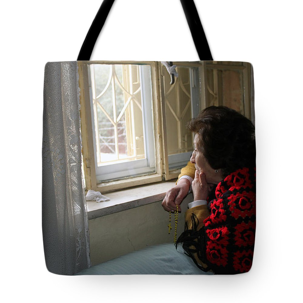 Aunt Tote Bag featuring the photograph Aunt Leila - Watching Over The Neigbourhood by Munir Alawi
