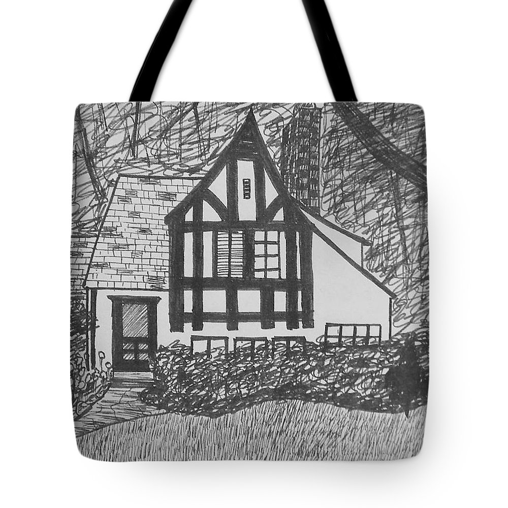 House Tote Bag featuring the drawing Aunt Vizy's House by Lenore Senior
