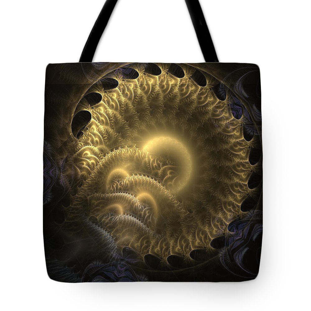 Abstract Tote Bag featuring the digital art Aureate-2 by Casey Kotas