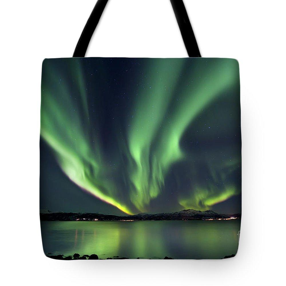Aurora Borealis Tote Bag featuring the photograph Aurora Borealis Over Tjeldsundet by Arild Heitmann