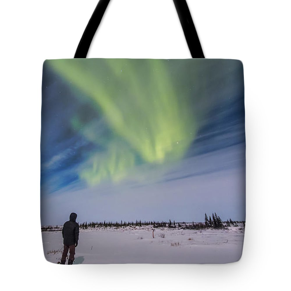 Aurora Tote Bag featuring the photograph Aurora Borealis Under Bright Moonlight by Alan Dyer
