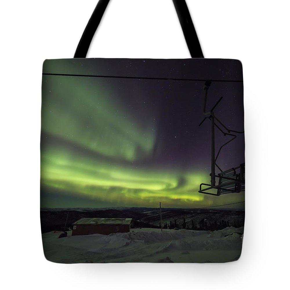 Alaska Tote Bag featuring the photograph Aurora, Night Sky At Alaska, Fairbanks by Chon Kit Leong