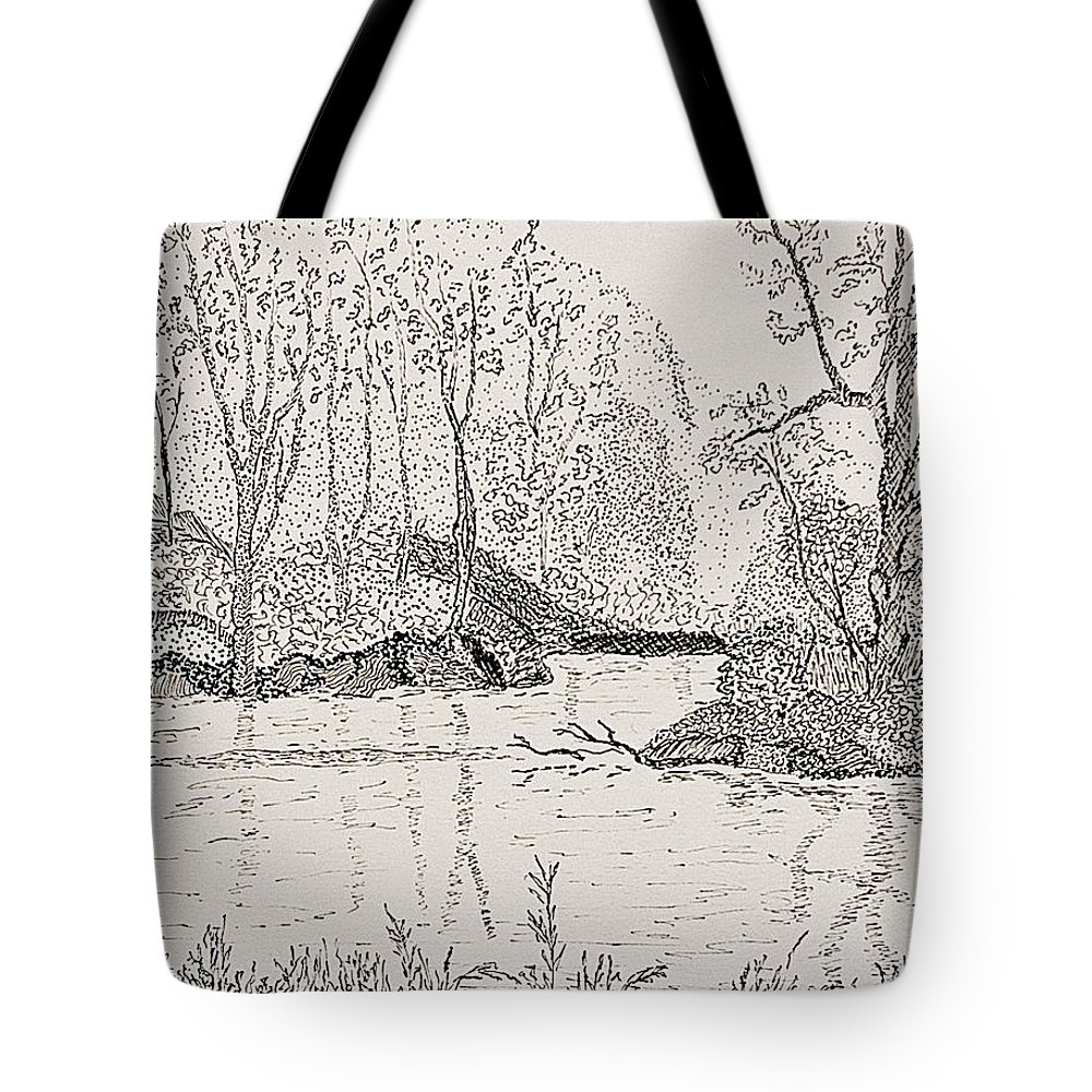 River Tote Bag featuring the drawing Ausable River At Rock Glen by Peggy King