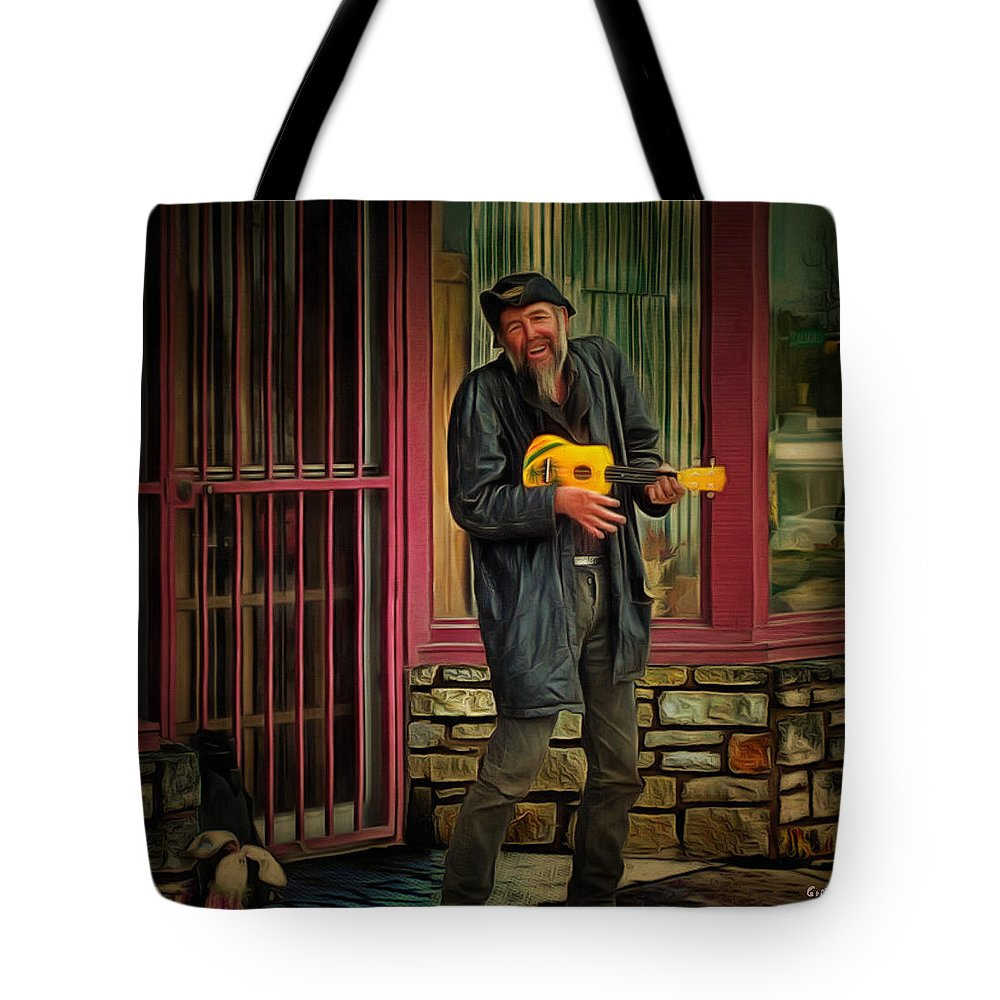 Music Tote Bag featuring the photograph Austin Musician Plays The Blues by PhotoArt By Gretchen