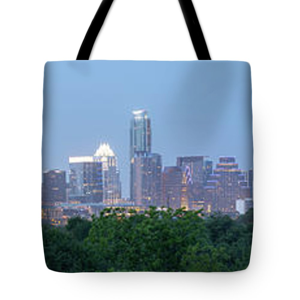 Austin Tote Bag featuring the photograph Austin Texas Building Skyline After The The Lights Are On by PorqueNo Studios