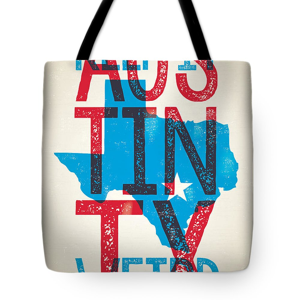 Guitars Tote Bag featuring the digital art Austin Poster - Texas - Keep Austin Weird by Jim Zahniser